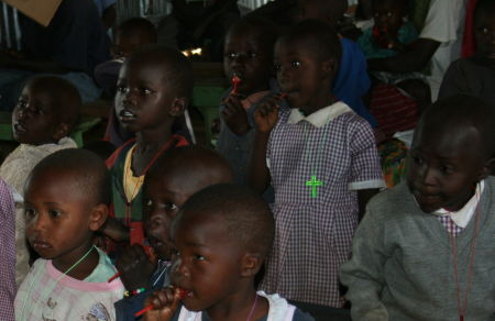children of the Kabarak church with sweeties