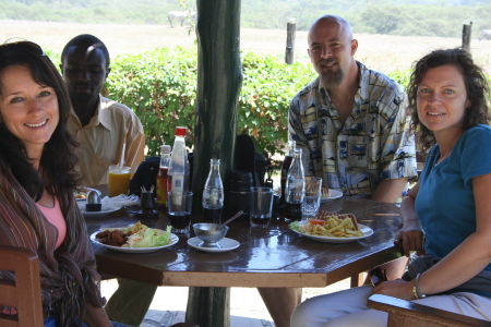 lunch at the Lake Nakuru Lodge with zebras, buffalo, and baboon behind us