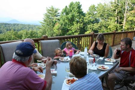 Helen, GA - Dinner on the back deck