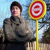 woman bus stop